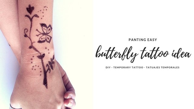 DIY | Butterfly Henna Design | Cute Fake Tattoo | Mariposa