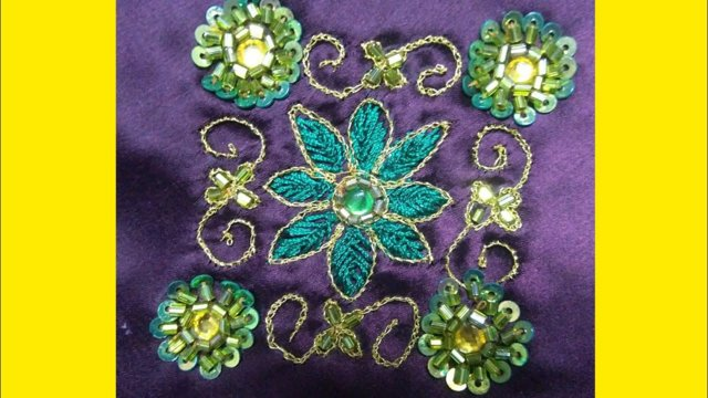 How to make aari and hand embroidery saree design